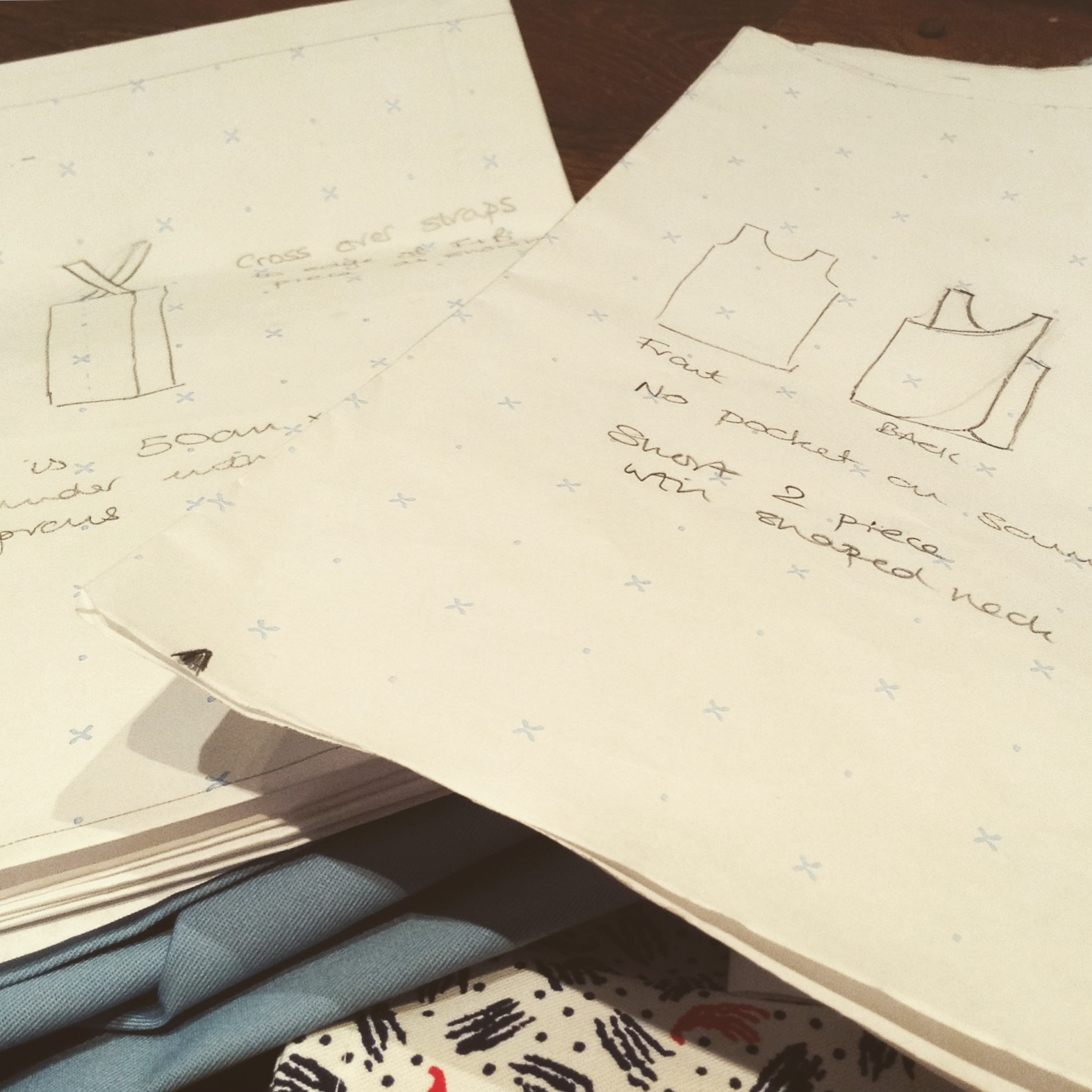 Aprons in development at The Stitch Society