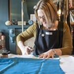 Charlotte cutting samples at The Stitch Society