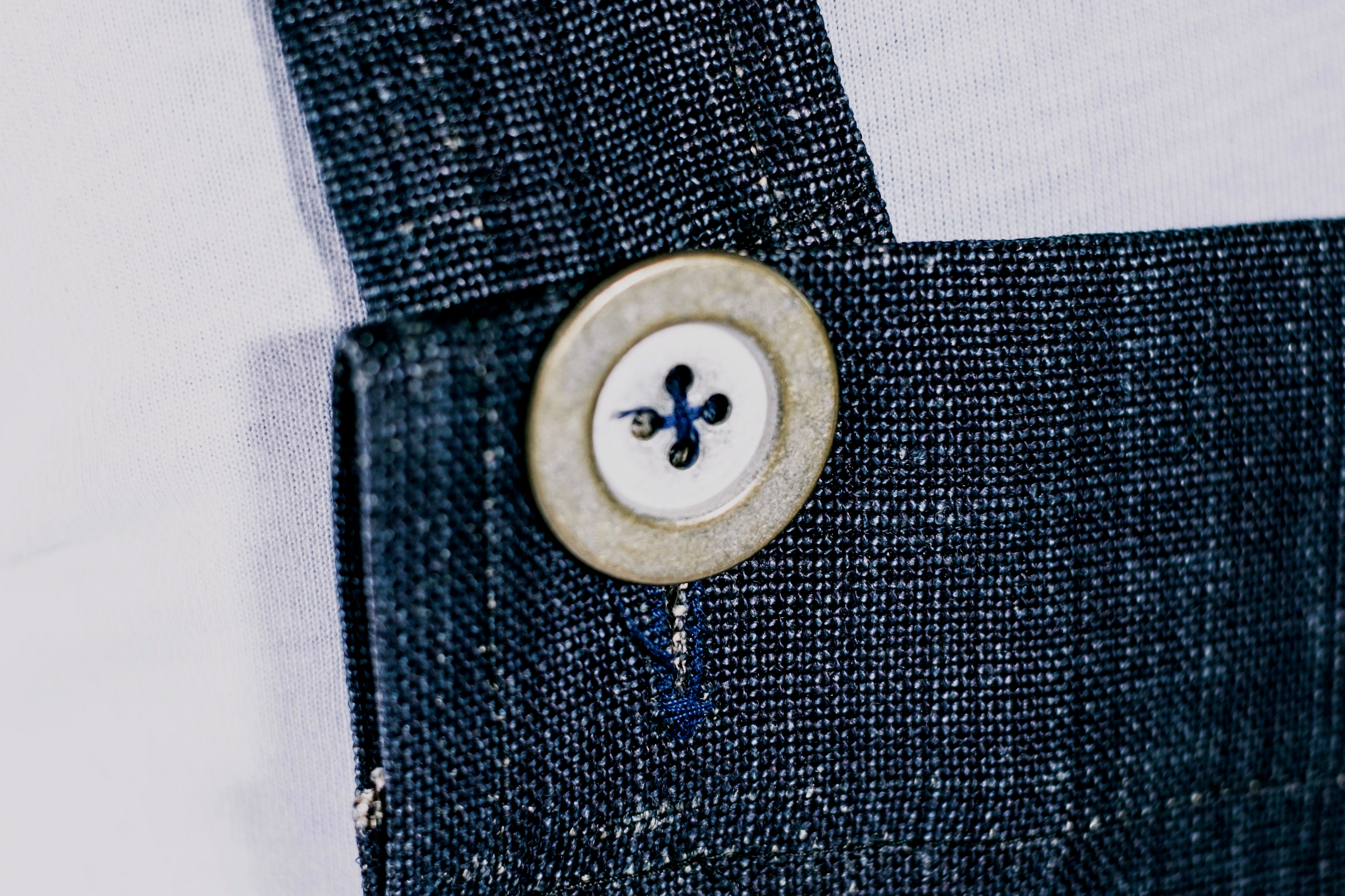 Denim Linen Martha Pinafore Apron - Detail
