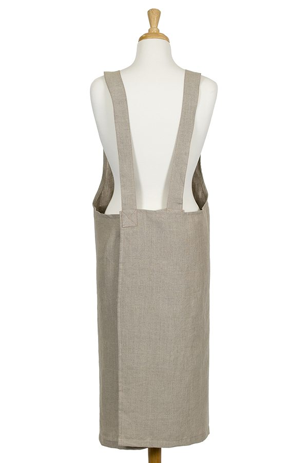 Natural Linen Susie Pinafore Apron - Back View