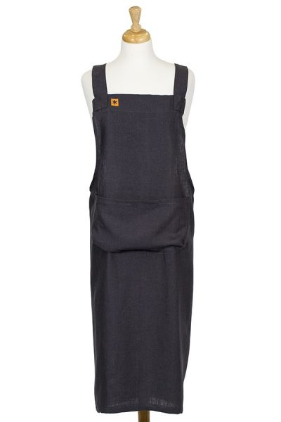 Charcoal Linen Susie Pinafore Apron