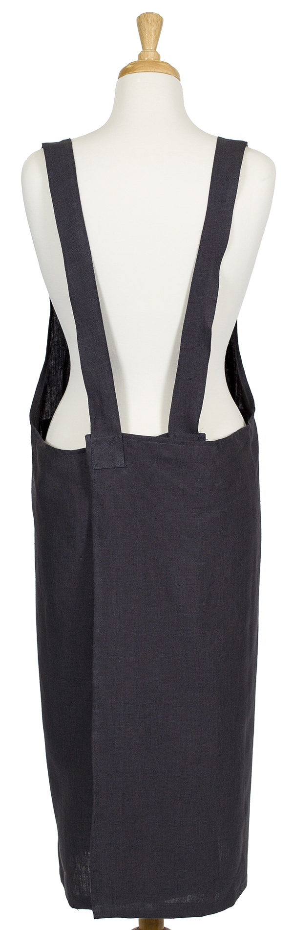 Charcoal Linen Susie Pinafore Apron Back