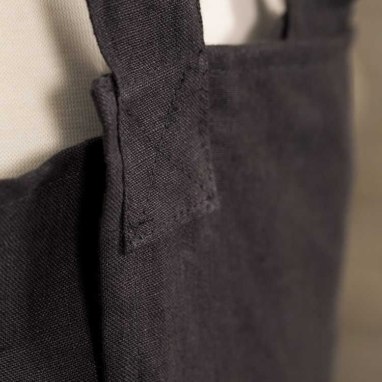 Charcoal Linen Susie Pinafore Apron Back Detail SQ