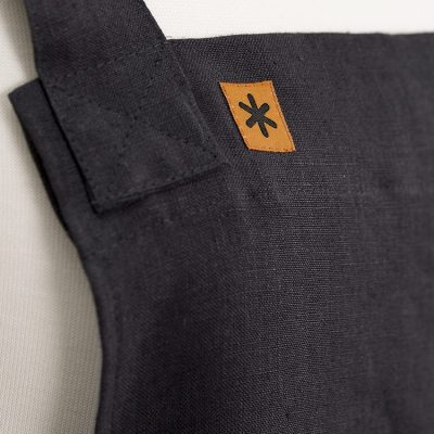 Charcoal Linen Susie Pinafore Apron Detail SQ
