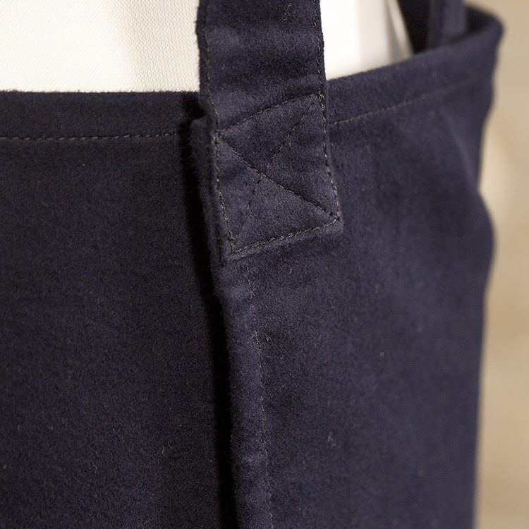 Navy Moleskin Susie Pinafore Apron Back Detail SQ