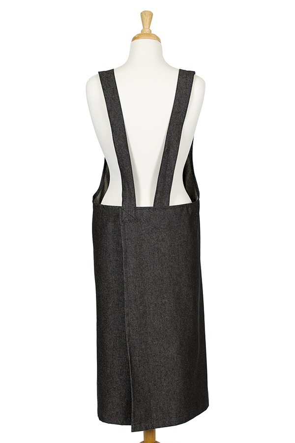 Black Denim Susie Pinafore Apron - Back View