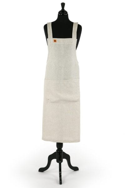 NATURAL LINEN PINAFORE APRON