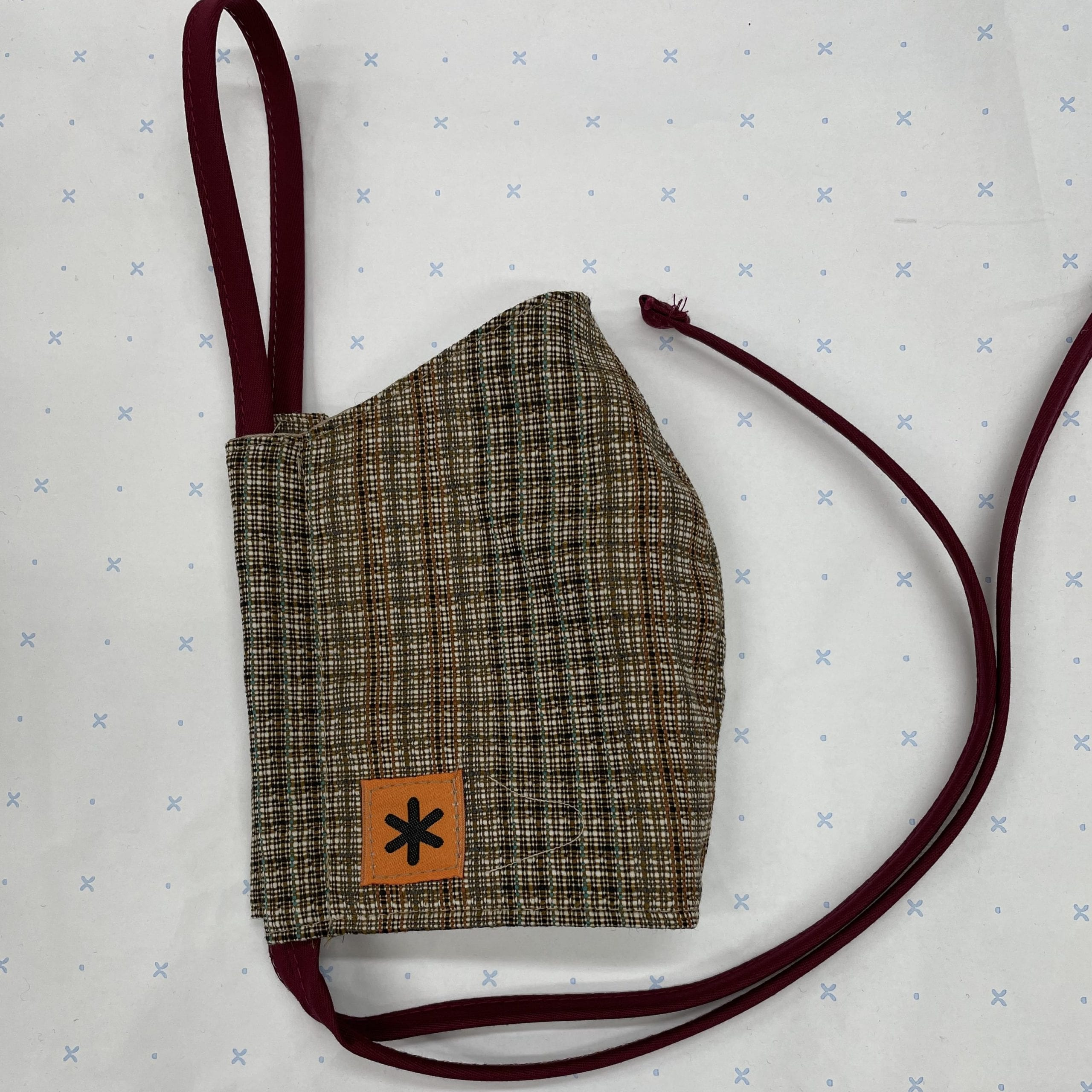 Small Brown Check Tweed Face Mask