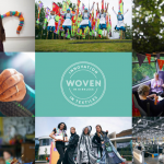 Logo of Woven in Kirklees and 8 images of textile groups and projects around the edge